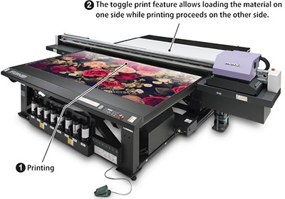 The toggle print feature allows loading the material on one side while printing proceeds on the other side.