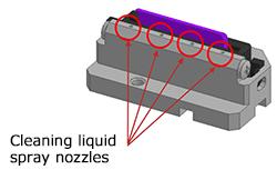 Cleaning liquid spray nozzles
