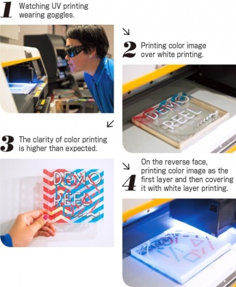 1.Watching UV printing wearing goggles. 2.Printing color image over white printing. 3.The clarity of color printing is higher than expected. 4.On the reverse face, printing color image as the first layer and then covering it with white layer printing.:acm